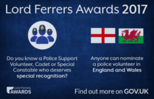 Nominations are now open for awards to celebrate Police Volunteers